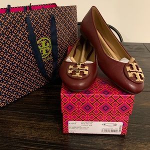 Tory Burch New in box Claire Flats Red Agate 7.5